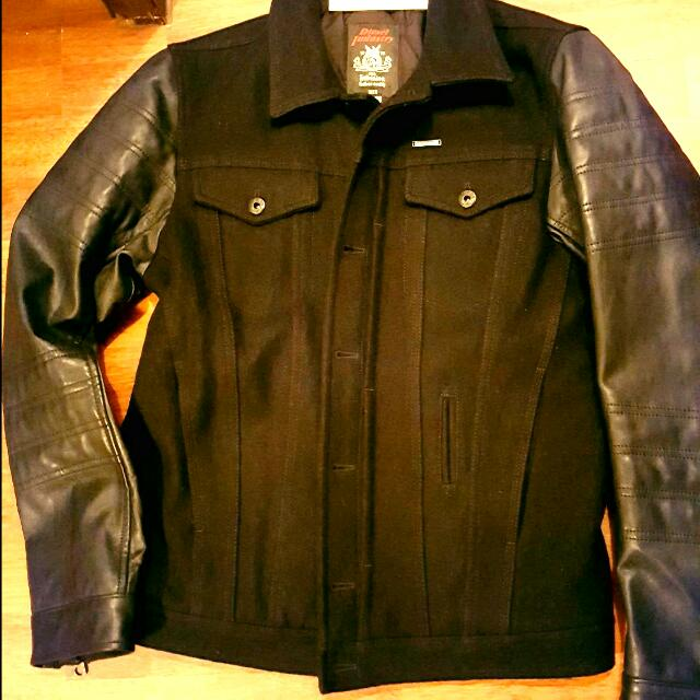 DIESEL new Mens Wool Leather Jacket