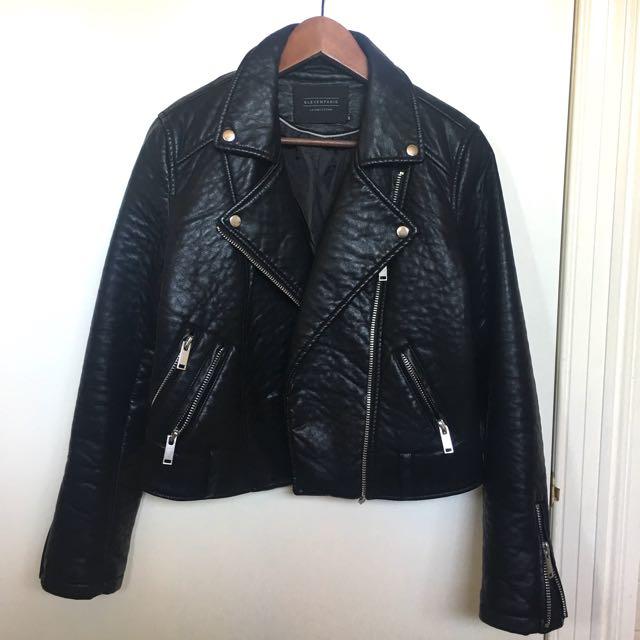 ELEVEN PARIS - Black Leather Jacket Size 12