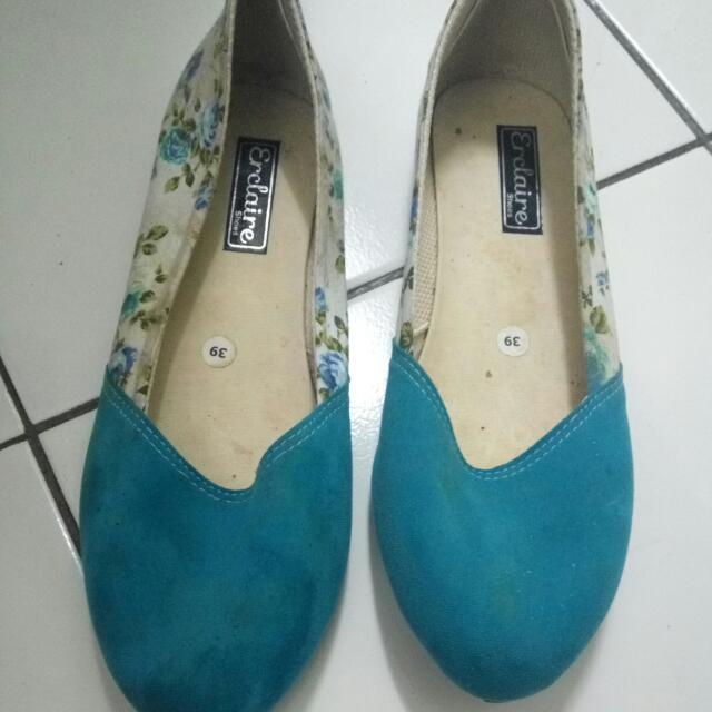 flat shoes floral blue
