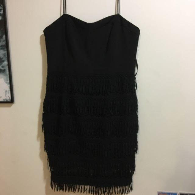 Forever New Fringe Gatsby Black Flapper Evening Dress