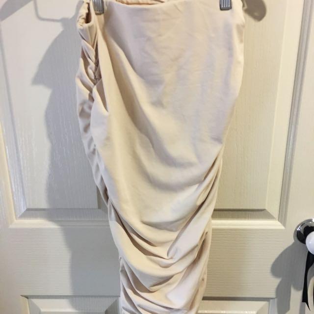 Glamazon Beige Bandage Skirt