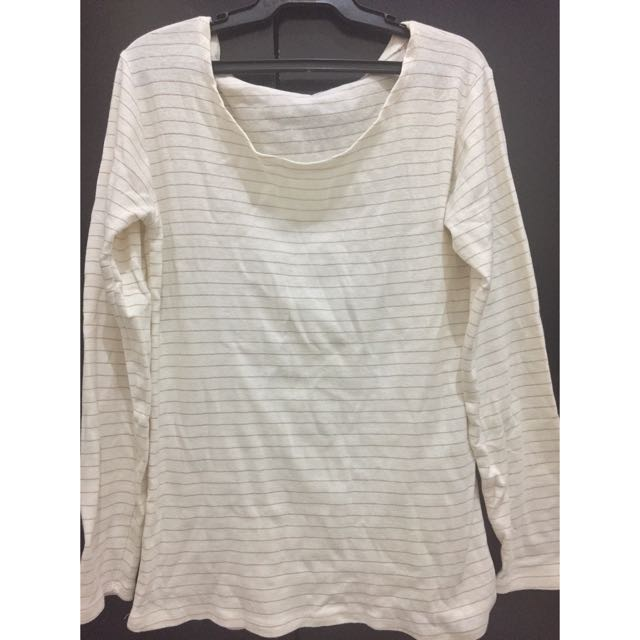 Gold and White Long Sleeves Top