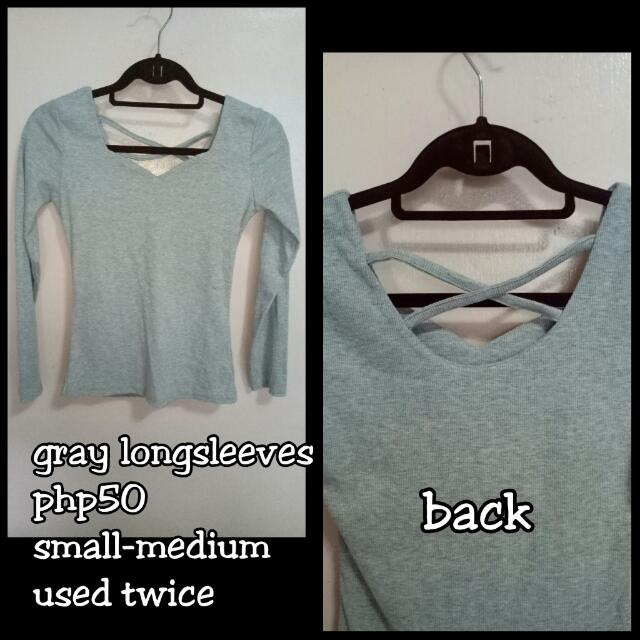 Gray long sleeves blouse