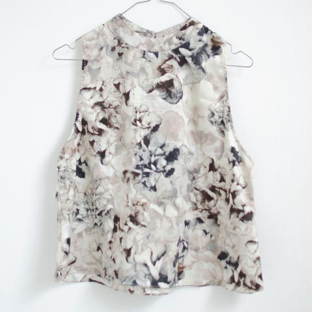 Grey floral halter top