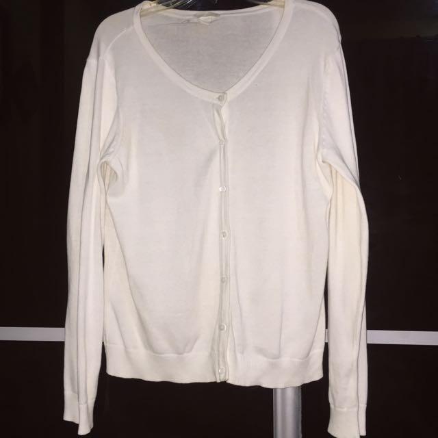 H&M Basic Cardigan White Size L