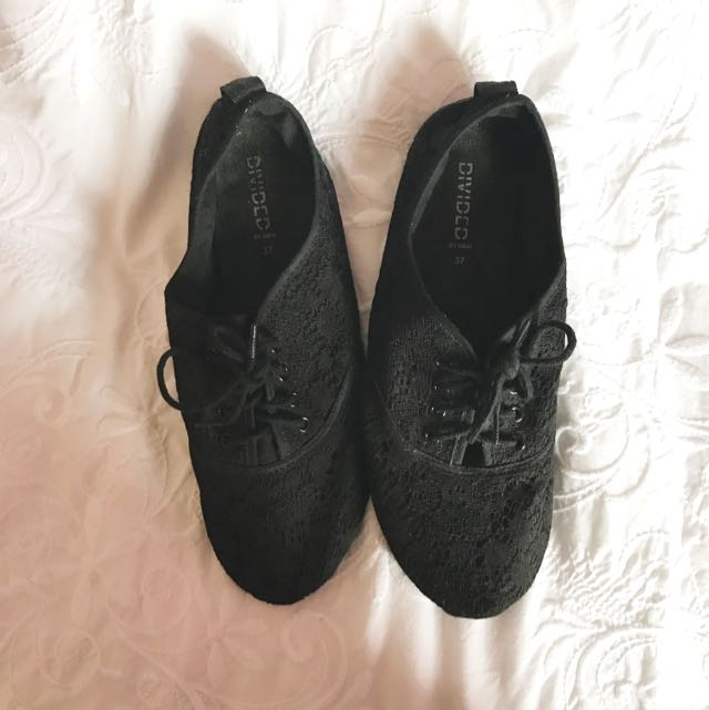 H&M Black Lace Loafers-Size 37