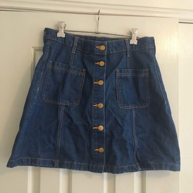 H&M Denim High Waisted Skirt