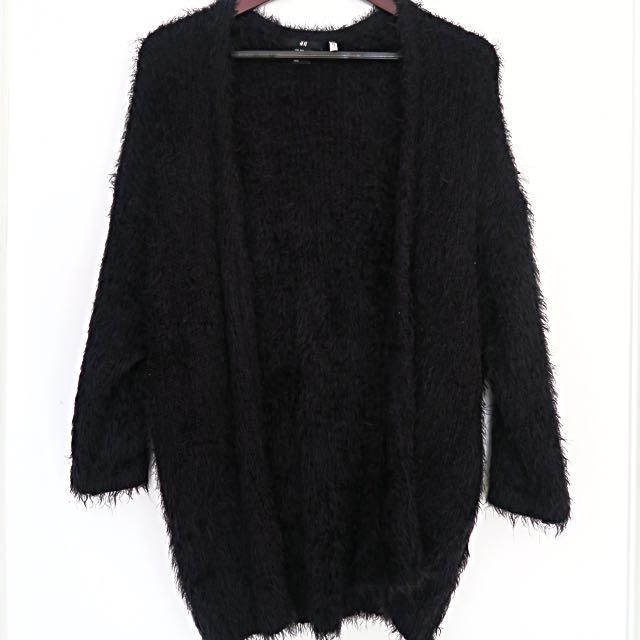 H&M Furry Black Cardigan