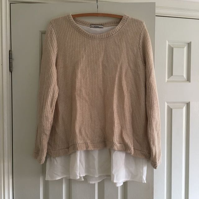 Knitted Tan Jumper With Built In Shirt