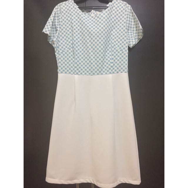 Light Blue Checkered/white Dress From Shapes