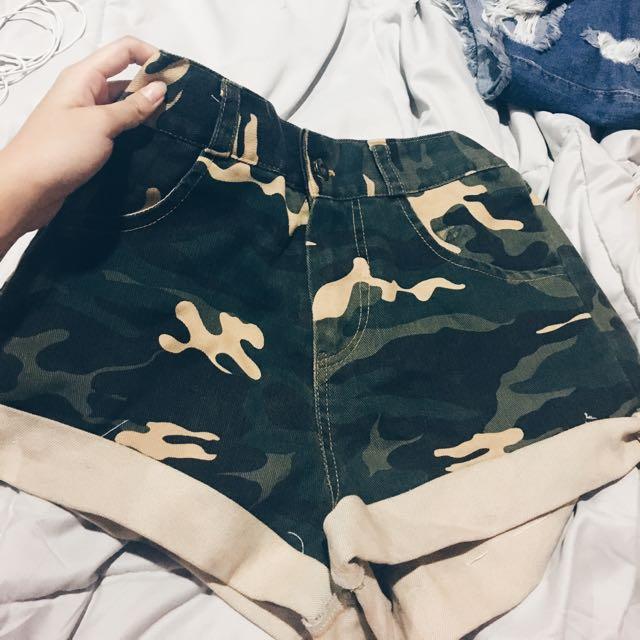 7921c20eb3 military/ camo/ army prints denim shorts, Women's Fashion, Clothes ...