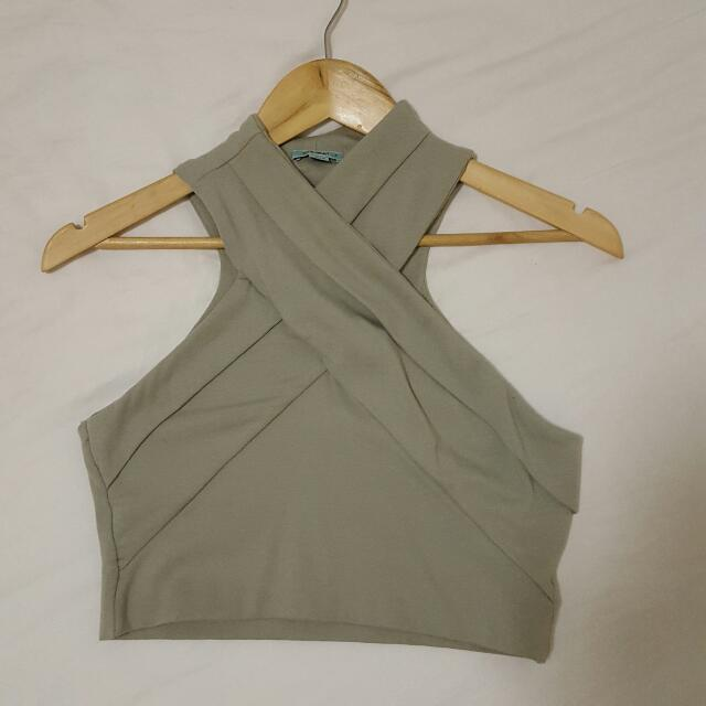 New KOOKAI Army Green Valentina Crop Top Sz 2