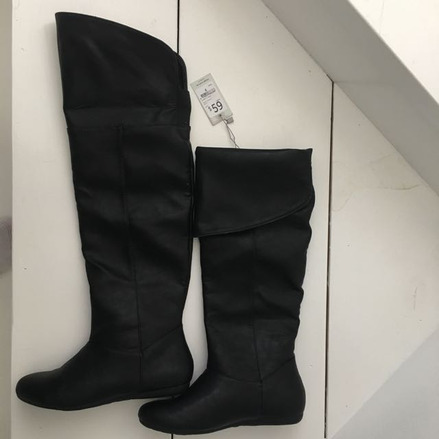 New Over The Knee Black Boots, Size 6
