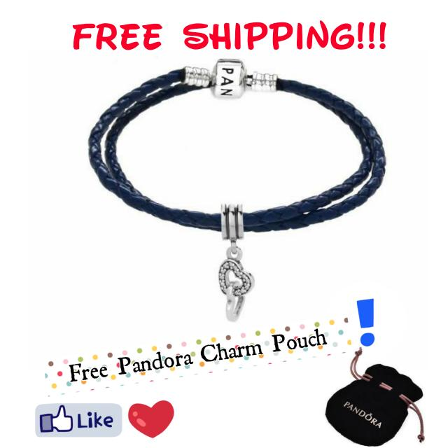 Pandora Black Double Strand Leather Bracelet With Intertwined Charm Size: 35cm