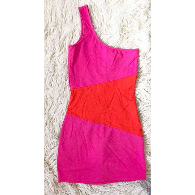 Pink and orange Bardot bodycon dress