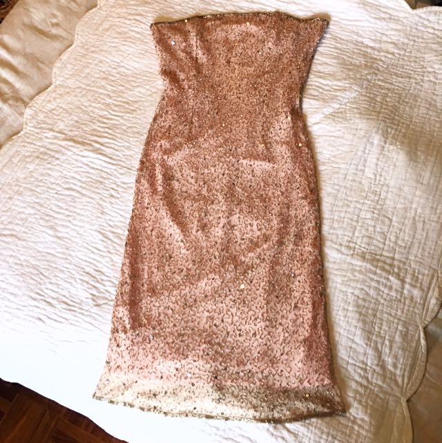 Pink Beaded Silk Cocktail Dress