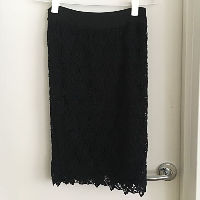 Portmans Black Lace Skirt - Size 6