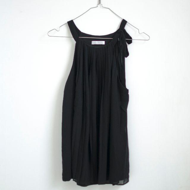 Promod pleated chiffon black sleeveless top