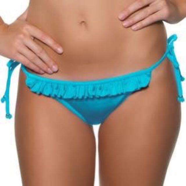 Seafolly Blue shimmer ruffle tie side Bikini pant Size 8