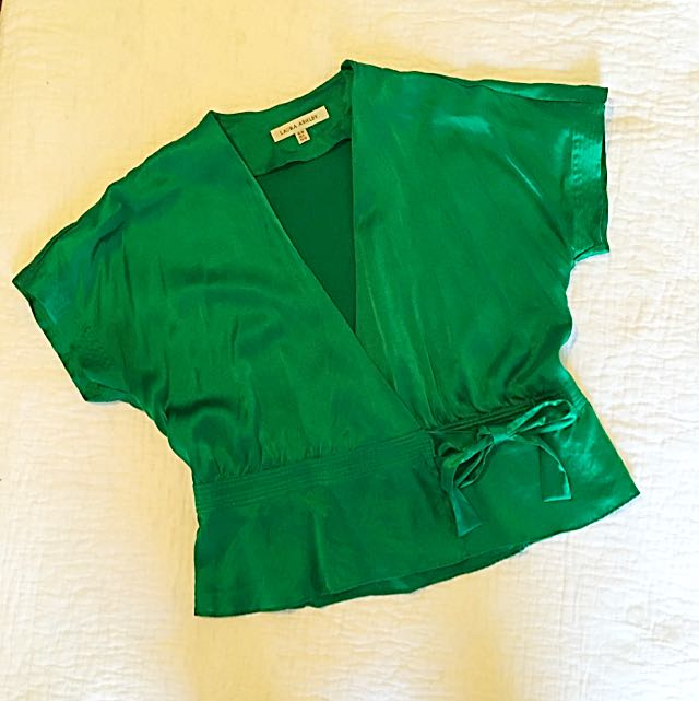 Silk Emerald Laura Ashley Wrap Front Blouse