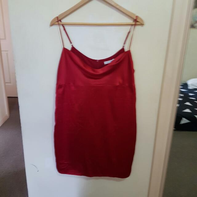 ♡SOLD♡ Size 12 - Red Silk Dress