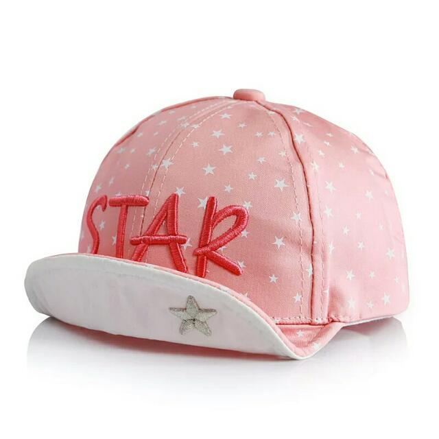春秋新款兒童星星STAR鸭鴨舌帽子 男女寶寶小清新棒球帽-白/粉/藍