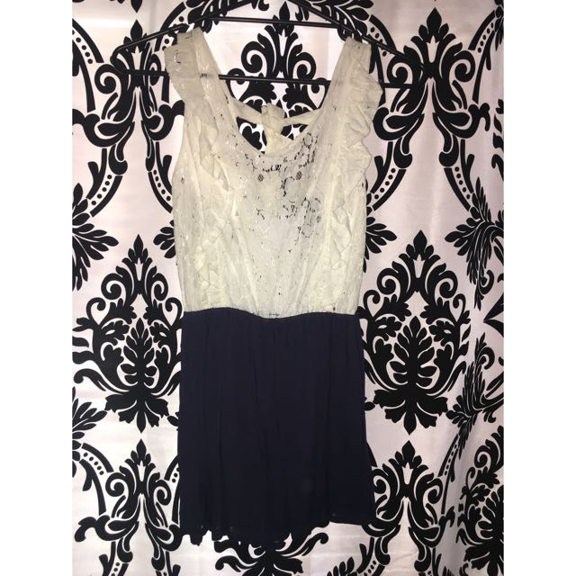 Tattoo Lace Navy White Playsuit Size 6