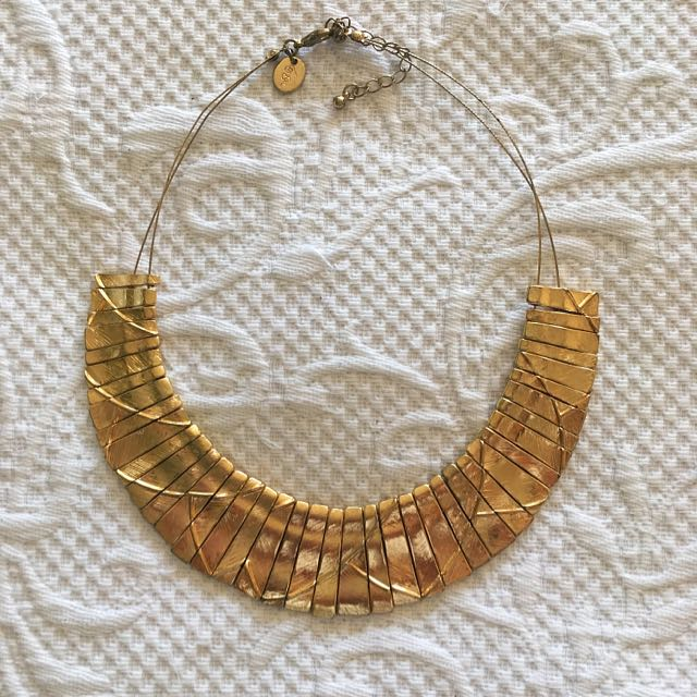 Textured Gold Statement Necklace