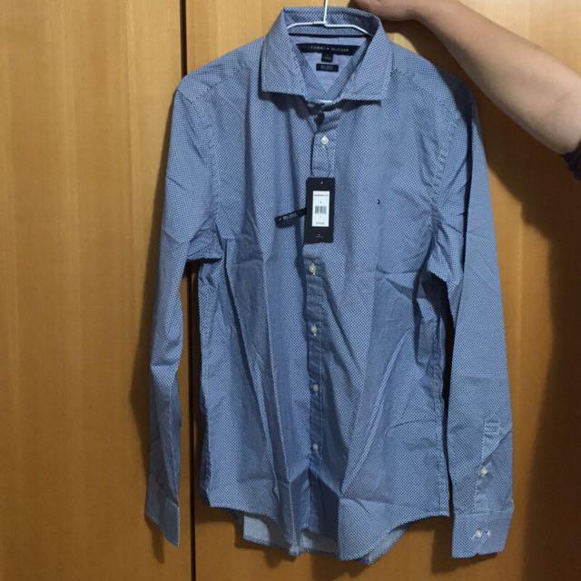 全新真品Tommy Hilfiger TH男衣 小格 長袖襯衫 S/M號