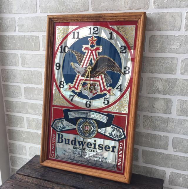 Vintage Budweiser Beer Eagle Wooden Clock