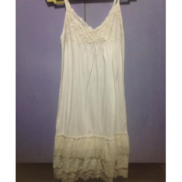 White Cotton and Lace Slip Dress