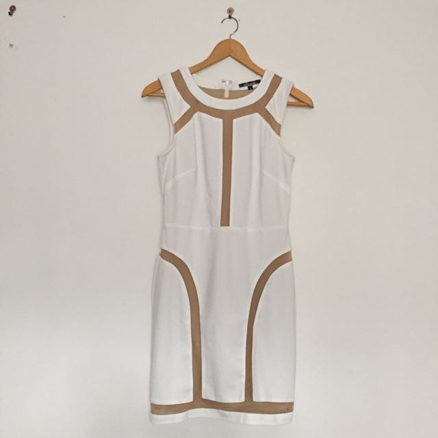 White Lumier Dress With Nude Detailing
