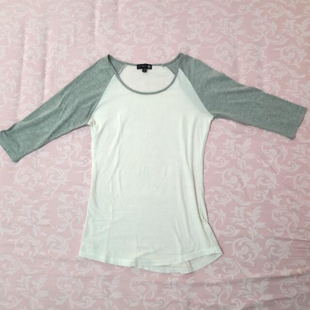 White Top with Grey Sleeves