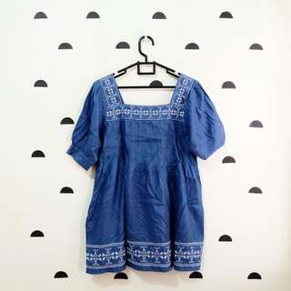 Blue Embroidery Tribal Blouse