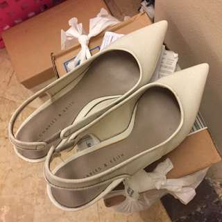 Charles & Keith wedges black and white