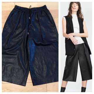 ZARA FAUX LEATHER CULOTTES NWOT SIZE SMALL