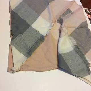 Pink And Gray Blanket Scarf