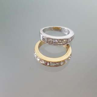 Swarovski Crystal 18k Yellow And White Gold Plated Rings