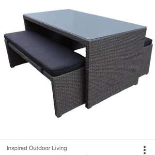 3 Piece Outdoor dining with Bench Setting – Granite Wicker