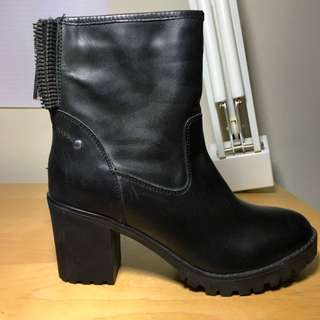 Steve Madden Chunky Heel Leather Boots