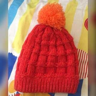 🚚 [二手]橘紅球球毛帽