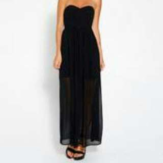 Black Strapless Maxi Dress