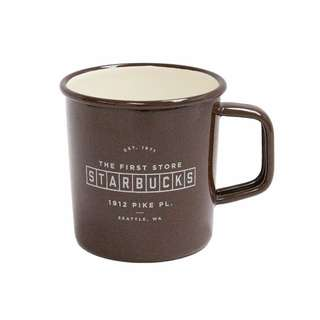 STARBUCKS 星巴克創始店 咖啡色琺瑯杯