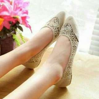 Flatshoes Brukat Krem