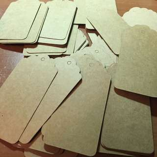 LOT OF VINTAGE STYLE BROWN KRAFT PAPER HANG TAGS WEDDING FAVOUR LABEL GIFT CARDS