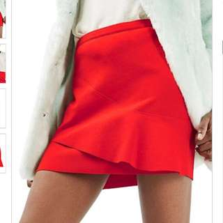 Topshop Wave-front Mini Skirt Red