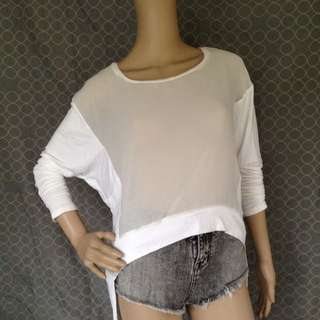 Bershka White Long Sleeves Top