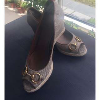 Ladies Gucci Horsebit Wedges - size 9.5