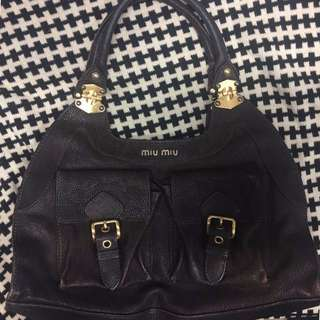 Miu Miu Chocolate Leather Handbag
