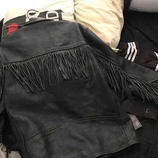 Tassel Leather Jacket Size M